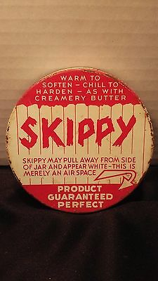 "Antique 1930s ""SKIPPY"" Peanut Butter, White/Red Advertising Lid-"
