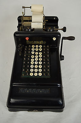 Burroughs 7 Column Adding Machine Hand Crank Antique Steampunk Art Deco Works