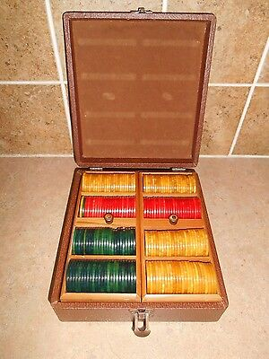 "Vintage ""LOWE NY GAME Co'  Box of 191 Bakelite Catalin Poker Chips"