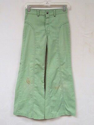 Vintage 70s Jeans Wide Leg Bell Bottom Mint Green Rough Housers Boho 26 x 26
