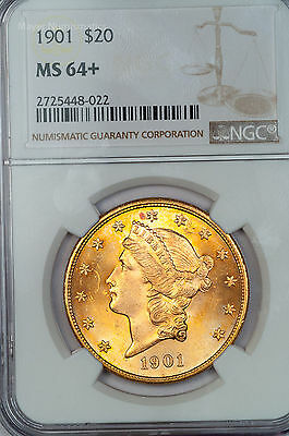 1901 Liberty Gold $20 NGC MS64+ Plus-Graded Fiery Orange Near-Gem (9039.35637x)