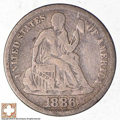 Full Liberty - 1886 Seated Liberty Silver Dime *374