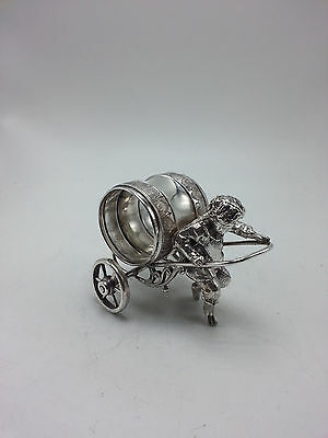 Figural Boy in Harness Pulling Silverplate Napkin Ring on Wheels #2
