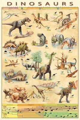 New Dinosaurs Species Jurassic Age Timeline Poster