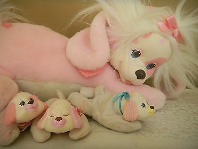 Vintage Hasbro Puppy Surprise Pink White Original Collar 3 Puppies Plush 1991