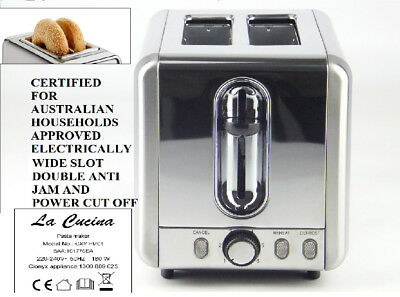 Toaster 2 slice wide slot for bagels and defrost Automatic, 925 W La cucina