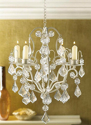 distressed Shabby hanging crystal Chandelier Candle Holder wedding centerpiece