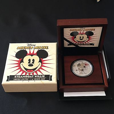 2014 Disney Mickey Mouse Steamboat Willie 1oz Silver Proof Coin Limited Edition