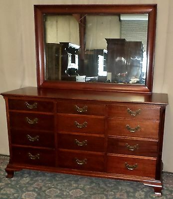 DREXEL TRIPLE DRESSER WITH MIRROR Mahogany Twelve Drawer Chest VINTAGE