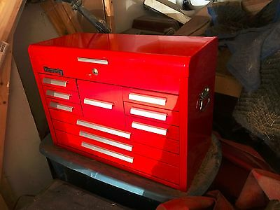Kennedy Machinists Tool Chest 10 Drawer Beautiful Red Glossy Paint Excellent!