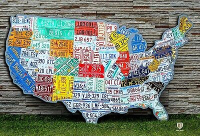 License Plate Map of the USA - Massive Huge Size - OOAK United States Pub Art
