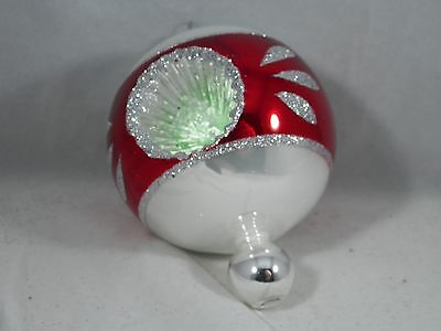 Red and Mint Glittered Ball Reflector Christmas Tree Ornament new holiday
