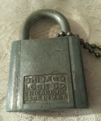 Vintage Chicago Lock Co. Silver Padlock With Key