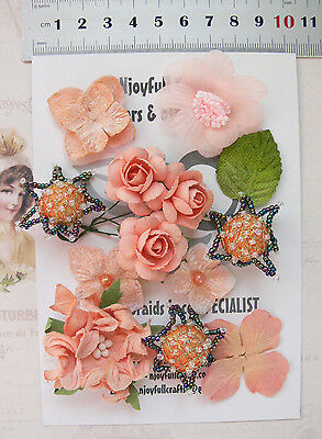 CORAL & BLACK Mix 11 Flowers 7 Styles PAPER & SILK Flowers 25-45mm VC1