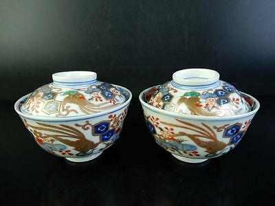 C8454: Japanese Old Imari-ware TEA BOWL/dish of soup with the lid 2pcs