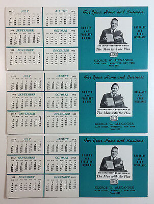 Vintage Ink Blotters Employers Group Advert and Calendar For 1952 Lot of Three