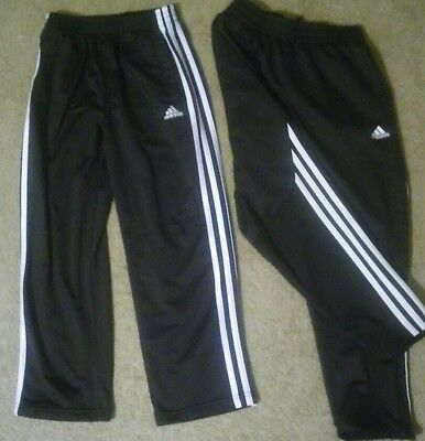 Lot 2 pair Kids Adidas track pants Sz 7 & 8 black, climalite, unlined, leg zip