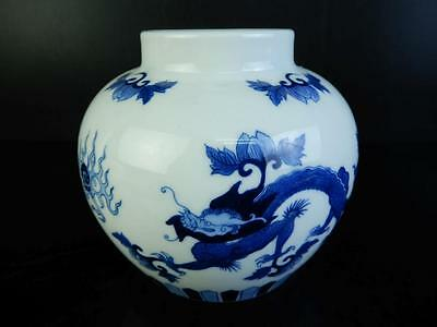 H2725: Chinese Blue&White Dragon Chicken pattern TEA CADDY Chaire Container