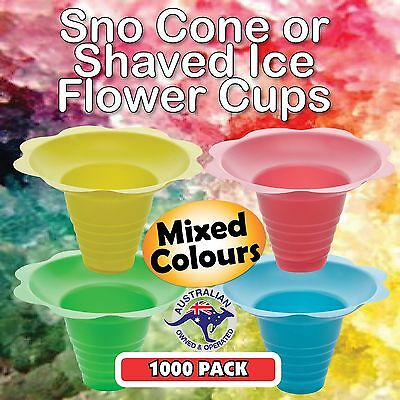 Snow Cone Cups 1000 Pack in 4 x MIXED COLOURS - Ice Shaver Cup Sno Cones Flower
