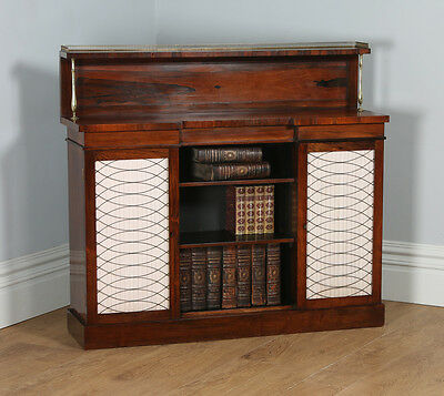Antique English Regency Rosewood & Brass Chiffonier Bookcase Sideboard (c.1820)