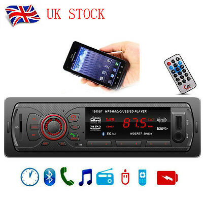 UK Bluetooth Car Stereo Audio In-Dash 1 Din FM Aux Input Receiver USB MP3 Radio
