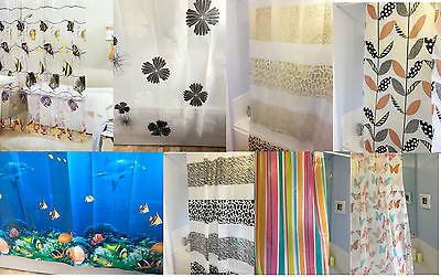 Light Weight PEVA Plastic Bathroom Shower Curtain with 12 Hooks- Different Sizes
