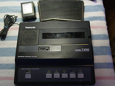 Olympus Pearlcorder T1010 Microcassette Transcriber w/Pedal/Power Supply