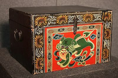 SMALL TRUNK BOX CHINESE LACQUERED BLACK PAINTED CANE PERIOD '900 (L 44 cm)