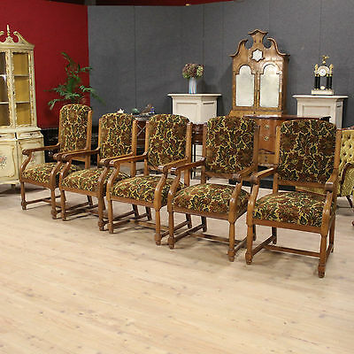 Group 5 armchairs rustic floral fabric chairs furniture cabinets stools antique