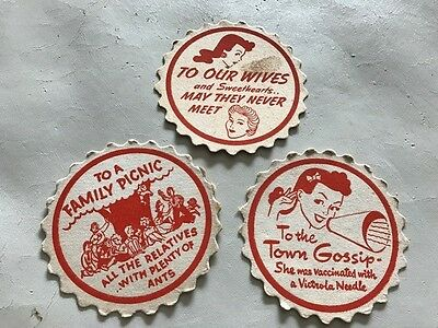 Lot of 3 1940s BARWARE DRINK COASTERS HUMOROUS good condition