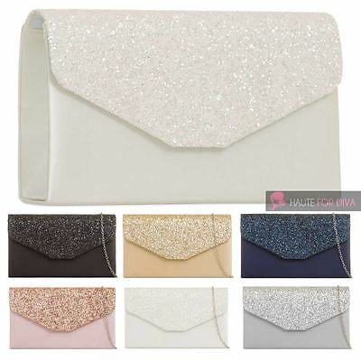 New Ladies Satin Glitter Flap Chain Strap Envelope Bridal Prom Clutch Bag