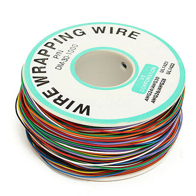 US Colored Insulation Cable B-30-1000 250M 30 AWG 8-Wire Test Wrapping Copper