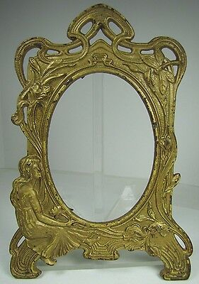 Antique Art Nouveau Lovely Maiden Surrounded By Flowers Frame cast iron old gold