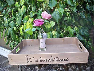 Large Rustic Wooden Tray - Apple Crate Tray Vintage Style