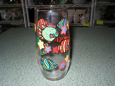 "One Libbey Glass Fish Tropical Long John Silver's Rocket Tumbler 6 1/4"" Tall"