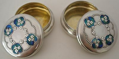 Pair Of Rare Jesse M King Liberty & Co Enamel Sterling Round Boxes 1909 Nice!