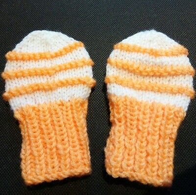 Hand knitted baby mittens 3-6 months ~ White and Orange