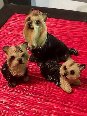 Family YORKSHIRE TERRIER  Mom & Puppies Dog - Life Like Figurine Statue YORKIE