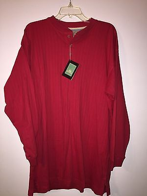 New Nwt Redhead Men Long  Sleeve Shirt Red Size Xl Ribbed Henley Cotton