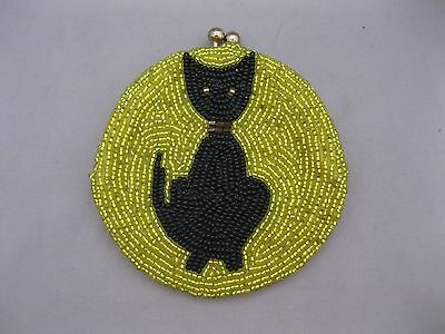 Vintage Glass Beads Coin Purse~Black Cat~Yellow Beads~Made In Korea~Preowned