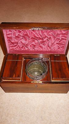 Stunning Georgian Rosewood Tea Caddy With Mixing Glass