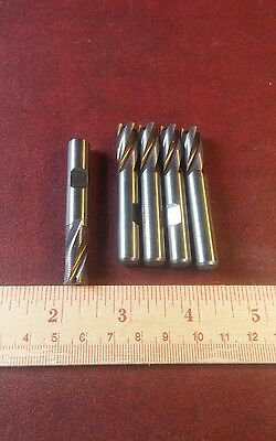"Lot of 5X Hanita 3/8"" Carbide Rougher End Mills 4S0R"