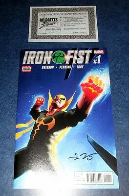 IRON FIST #1 signed 1st print ED BRISSON MARVEL COMIC 2017 COA NETFLIX defenders