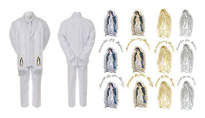 Baby Boy Kid Christening Baptism White Suit Virgin Mary Maria w/ Stole Sm-7