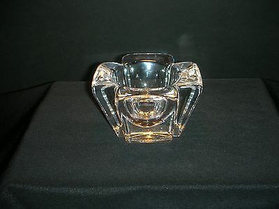 ORREFORS MAX Heavy Crystal Votive Cross Candle Holder