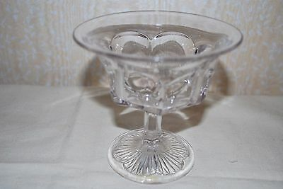 """Antique Clear Glass """" footed compote bowl """""""