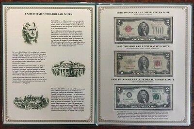 Two Dollar Note Folio Collection $2 Currency Bill 1928 1953 1976 2003 Uncut PCS