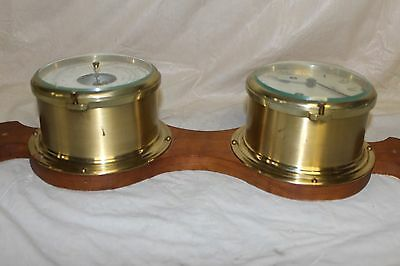 Germany Schatz Nautical Brass Clock And Holosteric Compensated Barometer