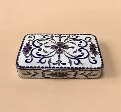 LOVELY SOLID SILVER PORCELAIN ENAMEL CIGARETTE BOX, LONDON IMPORT 1924, 109.8g