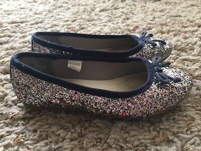 GAP Kids Youth Girls Silver Multi Color Glitter Ballet Flats Dress Shoes Size 11